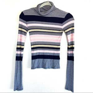 Prince & Fox Ribbed Striped Turtleneck Top